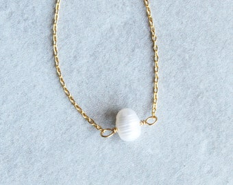 Pearl Choker Necklace, Simple Pearl Choker, Minimalist Pearl Necklace