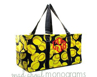 Personalized Monogrammed Collapsible Deluxe Large Utility Tote Bag | SOFT BALL | Teacher Gift | Tailgating | Carry All Organizer