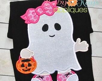 ON SALE Little Ghost Girl Applique Design 4x4, 5x7, 6x10, 8x8