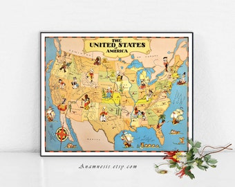UNITED STATES Map Print Digital Download -  vintage U.S. picture map to print and frame - pillows & totes - fun retro house warming gift