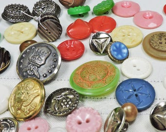 Vintage Buttons, Glass, Metal and Plastic, Sewing Notions, Craft Supplies