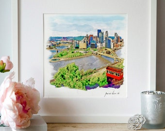 Pittsburgh Cityscape Watercolor painting Aerial view Pittsburgh poster City art Printable art Skylines Aquarelle Wall art Pittsburgh decor
