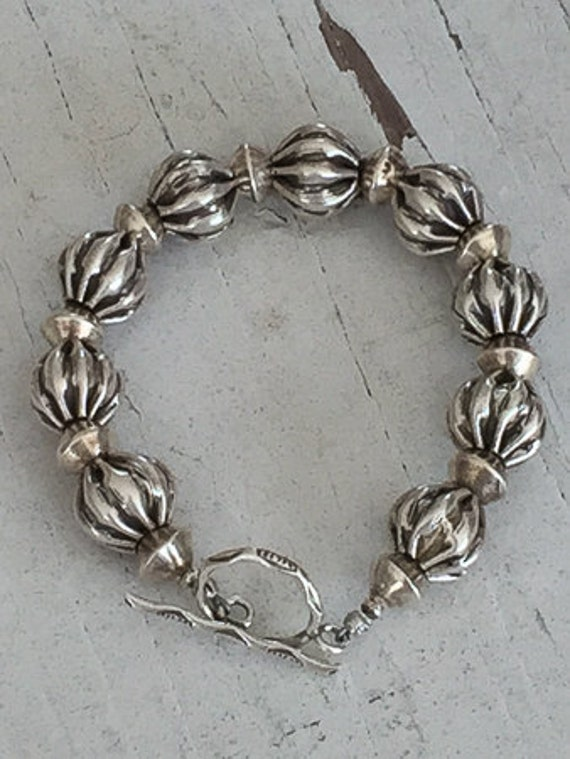 Market.  Squash shaped fine silver bead bracelet.  Chunky.  Handmade.  OOAK.  ladeDAH! Jewelry.