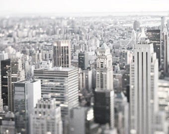 New York Photography - Black and White City Skyline at Dusk, Manhattan Urban Home Decor, Large Wall Art