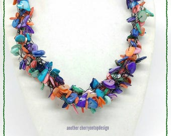 Multi Color Shell Necklace - rainbow wire wrapping crystals - work jewelry -