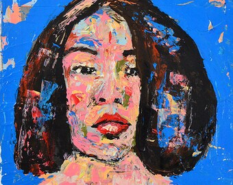 Palette Knife Woman Portrait Painting Print. Digital Wall Art Prints. Home Wall Decor.