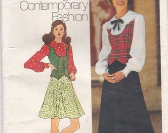 ON SALE 1970's Sewing Pattern - Simplicity 5297  Blouse, Skirt,  Vest  Size 12 Cut, Complete