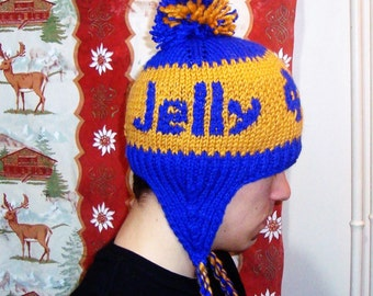 Winter hats for men's hats with ear flaps personalized knit notre dame logo with jelly graduation gift for man, fast shipping, blue, gold