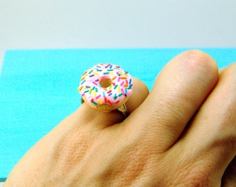Food Ring // Donut Ring with Rainbow Sprinkles // Adjustable Ring // MADE TO ORDER // Gifts for Her