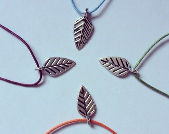 Silver leaf charm on waxed cotton cord adjustable friendship bracelet