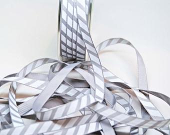 Varsity Diagonal Grosgrain Stripe Ribbon -- 3 / 8 Inch -- Gray White Stripe