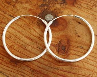 Sterling silver earrings boho hoops plain thin silver hoop silver creole earrings plain minimal hoops discreet hoop earrings elegant jewelry