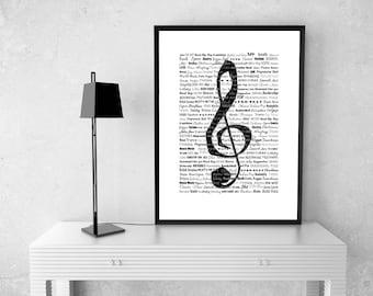 Treble Clef Art Print // Music Art Print // Instant Download // Printable Art // Home Decor