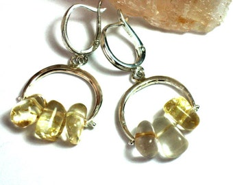 Yellow Bead Earrings, Yellow Citrine Earrings, Sterling Silver Citrine , Silver Citrine Earrings, Citrine Dangles, Citrine Stone Drops