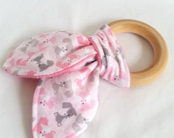 Natural Wooden Teether with Crinkles - Mini Pink and Gray Foxes - Baby Girl Gift - Natural Teething Solutions