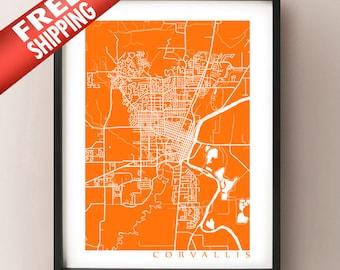 Corvallis Map Print - Oregon Art Poster