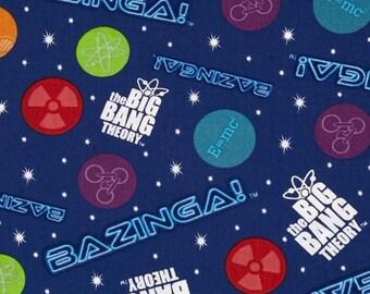"Big Bang Theory - Bazinga - Royal Blue, 44"" Wide, One Yard"