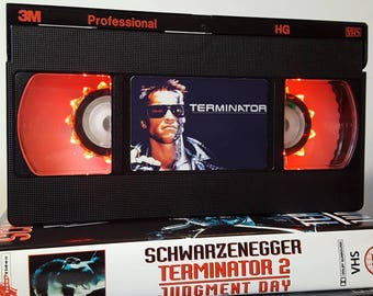 Retro VHS Lamp Terminator Night Light Table Lamp Movie. Order any movie! Great personal gift. Man Cave. Mothers Day Mothers Day
