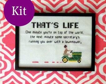Mad Men cross stitch kit lawnmower quote