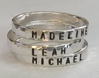 Child's Name Ring -  Mother's Ring - hand Stamped Sterling Silver Ring - Mother's Jewelry- Hammered Sterling Silver Name Ring- stacking ring