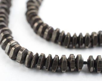 180+ Midnight Brass Triangle Heishi Beads LOOSE: Ethnic Metal Beads Metal Spacer Beads Heishi Shaped Beads 5mm Brass Beads Loose Beads