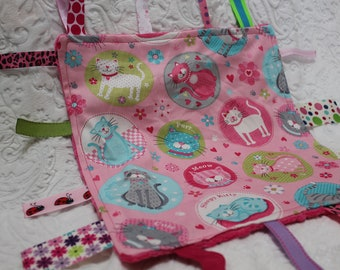 Pink Kitty Cat Baby Blanket with Ribbons