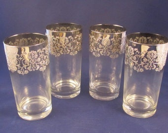 Dorothy Thorpe Silver Ombre Glass Tumbler with Raised Filgree Design