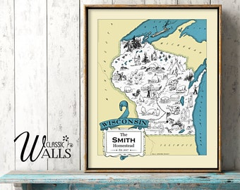WISCONSIN MAP - Personalized Map Of Wisconsin Wedding Housewarming Gift Retro Home Decor Wall Decor Vintage Wisconsin State Map Madison