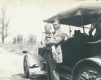 vintage photo 1918 2 Photos Grandpa w Boy and 1918 Buick