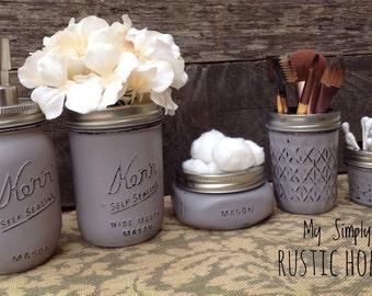Mason jar bathroom set- mason jars- farmhouse decor- rustic bathroom set- mason jar soap dispenser-wedding gift