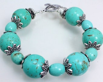 Turquoise Magnesite Bracelet, Turquoise and Silver Bracelet, Chunky Bracelet, Round and Barrel Shape Beads