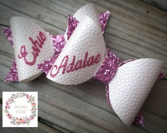 Pre Order Personalized Name Bow/ Glitter bow/ Custom option/ Pink