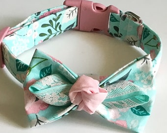 Pink and Aqua Floral Collar with Matching Bow for Girl Dog or Cat