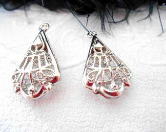 x 2 29 mm silver filigree Teardrop pendants.
