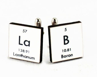 Chemistry Periodic Table Cufflinks - Lab -  Geek Nerd Breaking Bad Science Chemistry - Gift for Him