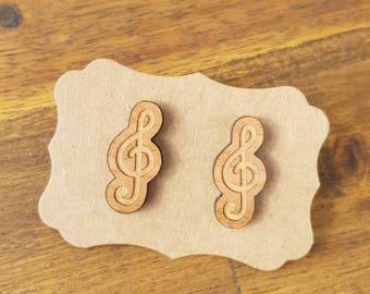 Music earrings, laser cut wood