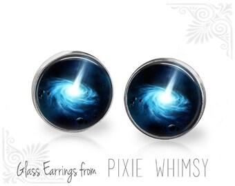 BLACK HOLE Earrings, Outer Space Stud Earrings, Galaxy Post Earrings, Stud Earrings, Pierced Earrings, Stellar Mass Jewelry, Galaxy Studs
