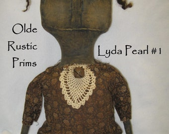 "Lyda Pearl 21"" Classic Primitive Black Doll IMMEDIATELY DOWNLOADABLE E-PATTERN"
