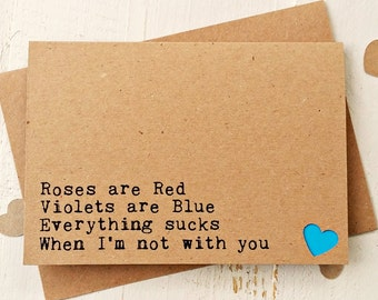 Long Distance Card - Valentine Card - Valentines Day Card - Love Card - Anniversary Card - Boyfriend Card - Girlfriend Card - Miss You Card
