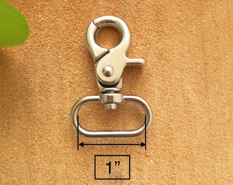 """6pcs 1"""" (1.0inch) Round Swivel Clasp Silver Snap Hook Lobster Clasps For Bag Making, Keychain, Leatherworks"""