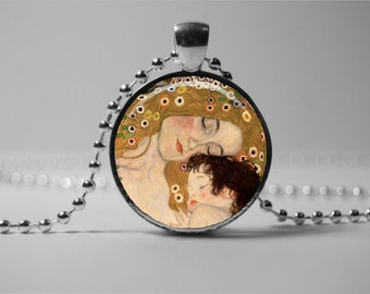 Mother and child Necklace Jewelry, Gustav Klimt Mother and child Pendant Necklace, Mother's Jewelry, Gift for women