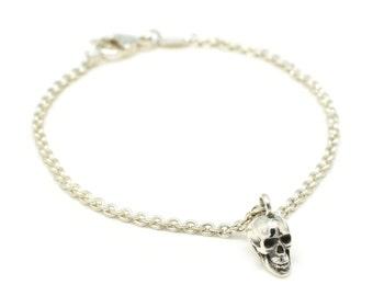 Silver Skull Bracelet - Skull Charm Bracelet - Skull Jewellery - Gothic Jewellery - Sterling Silver