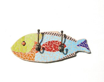 Colorful Mosaic Fish-Shaped Decor With Wall Hooks. two prong towel holder, nautical theme decor, fish wall decor, leash holder
