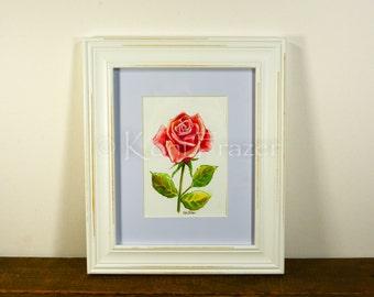 Red Rose watercolor painting / ten most interesting flower series / Original watercolor / flower painting 5 x 7