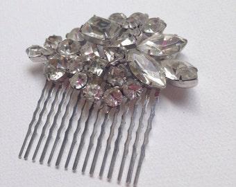 Vintage Silver Crystal Rhinestone Bridal Wedding Headpiece, Hair Comb, Bridal Accessories, One of a Kind
