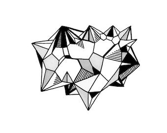 QUARTZ II Illustration A4 Print Black & White Line Drawing Rock Gem