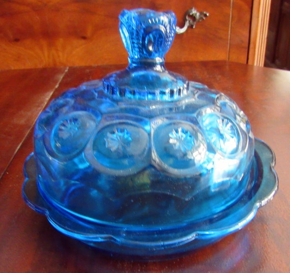 Blue carnival glass covered cheese or butter dish