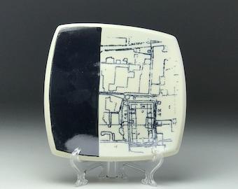 Ceramic square plate, archeological site, Japan, handmade dish, black and white, NC artist made, key bowl, trinket dish, Silk screen pottery
