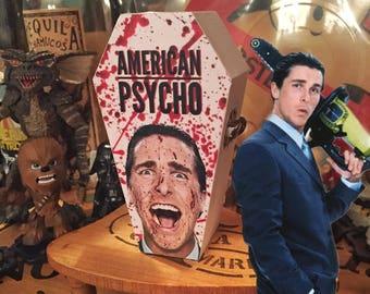 Wood coffin box, American Psycho Patrick Bateman Halloween decor