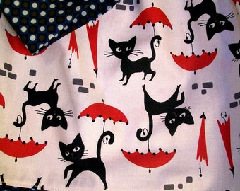 Elastic waist Girl's Skirt - Rainy Day Fun - Black Cats and Red Umbrellas - matching Headwrap